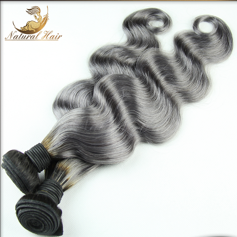 OmbreHair Weft Body Wave Virgin Human Hair Weaves 2pcs/lot Grade 7A 2Tones Hair Weave Gray Hair Extension<br><br>Aliexpress