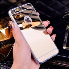 Luxury Plating Mirror TPU Silicon Frame Case For iphone 5S 5 SE 6 6S 7 Plus 4.7 / 5.5' Cover Soft Acrylic Back Phone Bag Case(China)
