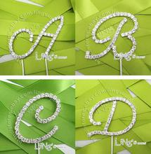 Free Shipping 1 X 10cm Height Rhinestone Crystal Letter ALPHABET Cake Toppers For Wedding Birthday Party Decoration
