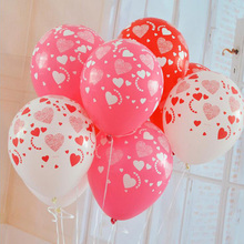 10pcs/lot 12 inches Printed full heart balloon High quality wedding marry Valentine balloons decoration party supplies 75Z(China)