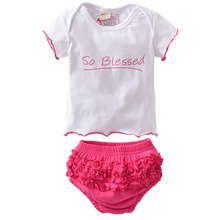 Hot Sale 2017 Summer style Baby Clothing Newborn Baby Girl Clothes Toddler Cute Wing T-Shirt+Shorts 2/pcs Infant Clothing Set