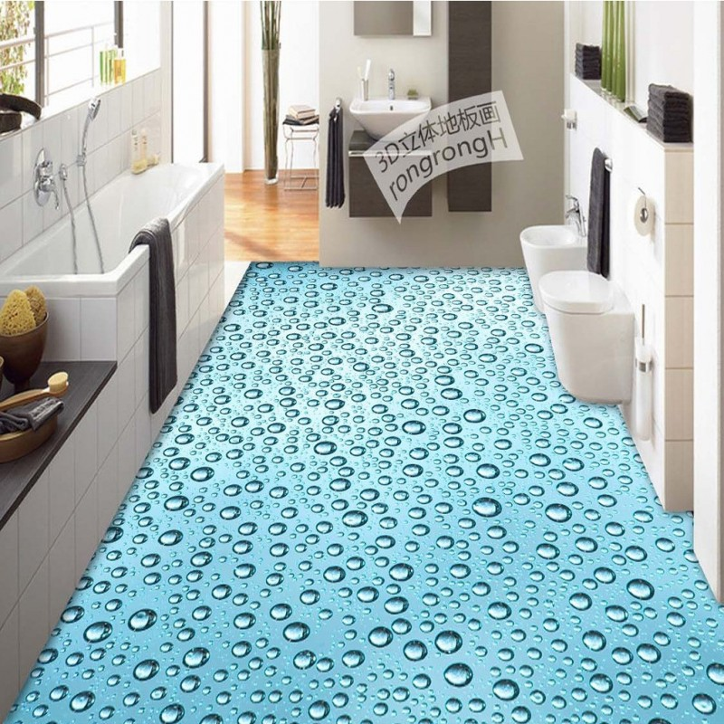 Free Shipping high quality 3D water droplets floor picture wallpaper living room kitchen office floor mural<br>