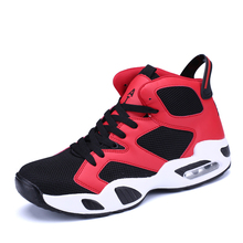 Best Men Women Basketball Shoes Cheap Mens Air Cushion Gym Training Sneakers Black Red Couples Leather Basketball Sport Shoes