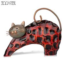 Tooarts Lazy Cat Metal Figurine Art Iron Sculpture Animal Abstract Sculpture Miniature Figurine Craft Gift For Home Decoration(China)