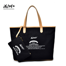 Manjianghong canvas letter print vintage classic women only shoulder bag vogue youth girls casual tote handbag with a small bag(China)