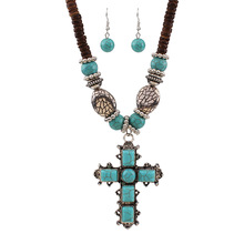 national style Malaysia imports natural coconut shell with turquoise cross pendant necklace