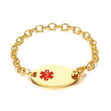 Womens Bracelets Stainless Steel Medical Alert ID Tag Gold Color Chain Bracelet for Women Wrist pulsera Free Engraving 8.2""