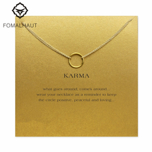 Buy karma Double chain Circle necklace alloy Pendant necklace Clavicle Chains Statement Necklace Women FOMALHAUT Jewelry for $1.21 in AliExpress store