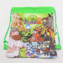 12pcs 4 Colors Plants vs Zombies Decoration Kids Cartoon Gift Backpack Birthday Non-Woven Fabric Drawstring Party Bags Supplies