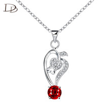 boho exaggerated flower bud from red glass crystal necklace for women replica red stone dress accessory custom jewelry DNE424-6(China)