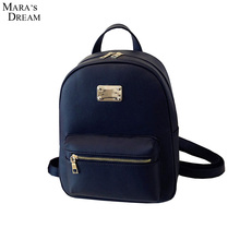 Mara's Dream 2017 Fashion Women Backpack For Girls High Quality PU Leather Solid Candy Color Metal Zipper Fashion Black Backpack