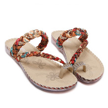 SIKETU2017 Women Boho indoor & outdoor Leisure Flip Flops Sandals Casual Wedge Clip Toe Beach Shoes Free Shipping & warehouse