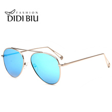 DIDI Cool Aviator Women Sunglasses Men Brand Flat Top Black Gold Big metal frame Eyewear Steampunk Vintage Coating Oculos W641