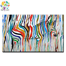 Designed rainbow color Zebra Pop Art Oil paintings canvas Hand painted Wall Art Animals Pictures For Living room Home Decoracion