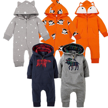 Unisex Newborn Baby Clothes Long Sleeve Hoodie Jumpsuits Autumn Baby Boys Costume 2017 Christmas Gift Baby Boy Rompers(China)