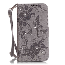 S5 Neo G903 Gliter Case Cute Flower Embossing Flip Wallet Cover For Samsung Galaxy S5 Neo G903F Coque With Lanyard