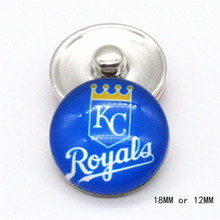 MLB Kansas City Royals snap DIY Sport Glass Snaps buttons 18mm 12mm fit  snap Leather bracelet  best baseball fans gift