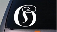 "Car Styling for LETTER O 6"" monogram sticker decal truck car window teach craft initials Car Sticker(China)"