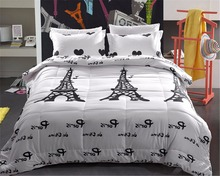 Paris Night Eiffel Tower Scene All season Comforter Sets With 2 Matching Pillow Covers(China)
