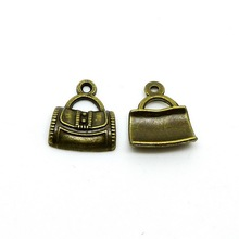 Free shipping Tote bags for Women 10pcs/lot 15x12mm Antique silver bronze Zinc Alloy Bag Charm DIY Retro Jewelry Accessories(China)