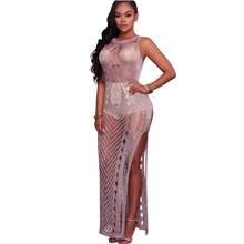 YJSFG HOUSE Fashion Sexy Hollow Out Long Maxi Beach Dresses Women 2017 Summer Ladies Slim Sleeveless Split Party Club Dress Robe