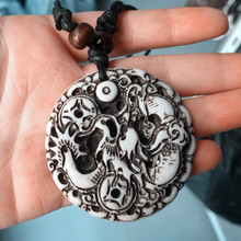 Cool Handmade Yak Bone Powder Carving Dragon Totem Pendant Dog Tag Wood Beads Rope Necklace Amulet Lucky Gift MN113