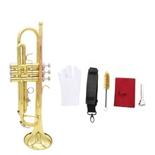Trumpet Bb B Flat Brass Phosphor Copper Exquisite with Mouthpiece Cleaning Brush Glove Strap