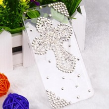Luxury Fashion Cross Rhinestone Diamond Crystal Case Cover For iPhone 5 5G 5S 1pcs/lot(China)