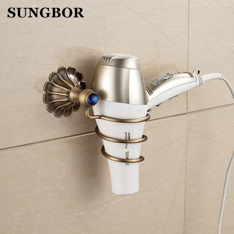 Europe style golden hair dryer rack with green stone gold hair dryer rack copper bathroom wall shelf HQY-2306K<br>