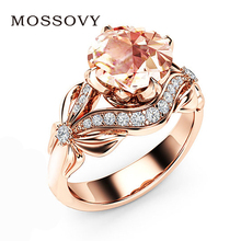 Buy Mosovy 2018 Best Selling Zircon Flower Rose Gold Ring Wedding Rings Women Cubic Zirconia Engagement Ring Anillos Mujer Aneis for $1.27 in AliExpress store