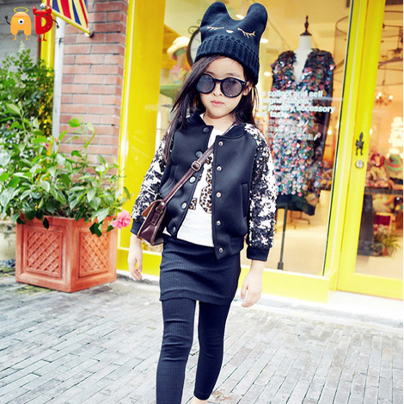 AD Fashion Tinsel Baby Girls Jacket Black Space Cotton Girls Coat for Spring Autumn Kids Outwear Childrens Clothing<br>