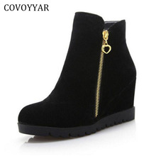 COVOYYAR 2017 Women High Wedges Boots Autumn Winter Flock Hidden Heel Zip Ankle Boots Comfort High Heeled Women's Shoes WBS295
