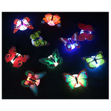 Colorful LED Night Lights LED Paste Flowers Butterfly Sucker Creative Night Light Simple Energy-Saving Decorative Wall Sconce(China)