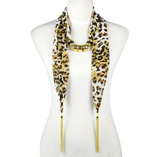 AOLOSHOW Women Leopard cloth jewelry beads scarf tassel necklace with two ending jewelry chains drop leapord scarf NL-2031