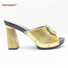 Unique graceful shoes woman best quality gold color Top sales 11cm hoof heels with rhinestones African Women Italian Shoe(China)
