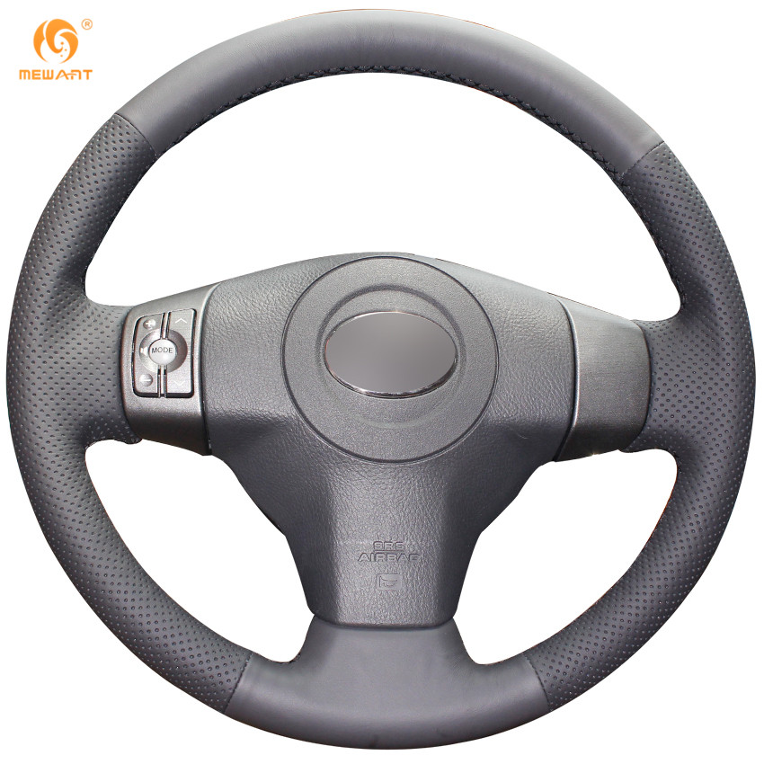 Mewant black artificial leather car steering wheel cover for toyota yaris vios rav4 2006 2009