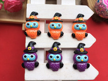 Free shipping! Resin Halloween is an owl , flatback convex round children's hair bow center adornment, pendant DIY 10pcs31*19mm(China)