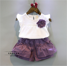 Kids Summer Fashion Baby Girls Clothes Cartoon Corsage Sleeveless T-shirt Tanktop Purple Shorts Childrens Clothing Set Twinset