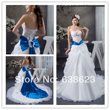DAW793  Free Shipping White And Royal Blue Lace Wedding Dress Pattern In Dubai