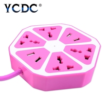 YCDC 1.7M Cable Extension Adapter Socket High Quality EU Germany Power Multi Switched Socket with 4USB Ports 4 Outlets Adapter
