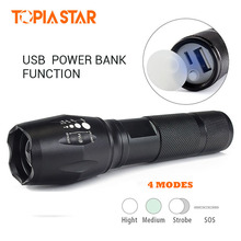 TOPIA STAR USB Rechargeable Led Flashlights Torch Portable Powerful Hunting Light Police Military Tactical Flashlight Lamp(China)