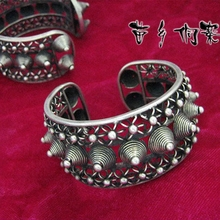 free shipping>>2pcs minority folk style manual Miao Silver personality rivet Bracelet(China)