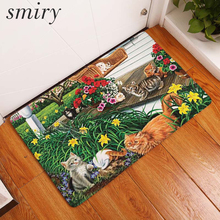 Smiry Anti- Slip Entrance Floor Mats Cute Cartoon Funny Cat Scenery Kitchen Rug Decoration Stair Carpets Light Thin Crafts Rugs(China)