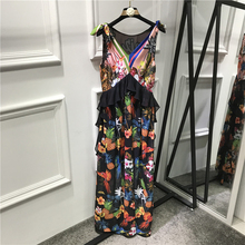 Silk Long Bohemian Dresses 2017 Summer V-Neck Sleeveless Women Flowers Print Topshop Ankle-Length Patchwork Empire Ruffled Dress