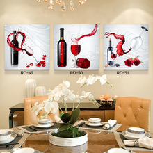 Hot Sell 3 Pcs Canvas Painting Red Wine Modern Wall Pictures For Kitchen Room Christmas Design Modular Pictures Unframed Cuadros