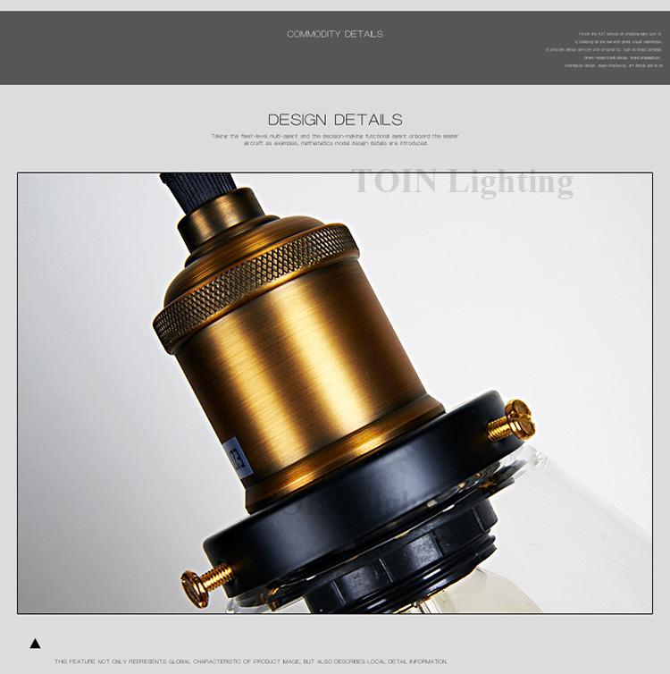 Loft RH Vintage Pendant Lights Glass Industrial Pendant Lamps Metal Retro Lustres Hanging Fixtures luminaire suspendu E27 D98 6