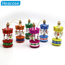 2017 Christmas Wood Carousel Horse Ornaments Mini Beautiful Wooden Xmas Children Gift Toys New Year Christmas Gifts Pendant(China)