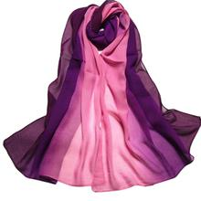 Summer Fashion Chiffon Scarf Gradient Colors Georgette Female Elegant Patchwork Silk Scarves Cape Manta High Quality #10(China)