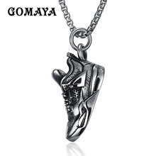 GOMAYA New Arrival Punk Style Vintage Cool Titanium Steel Shoes Pendant Men Necklace Women Jewelry Wholesale Collier(China)