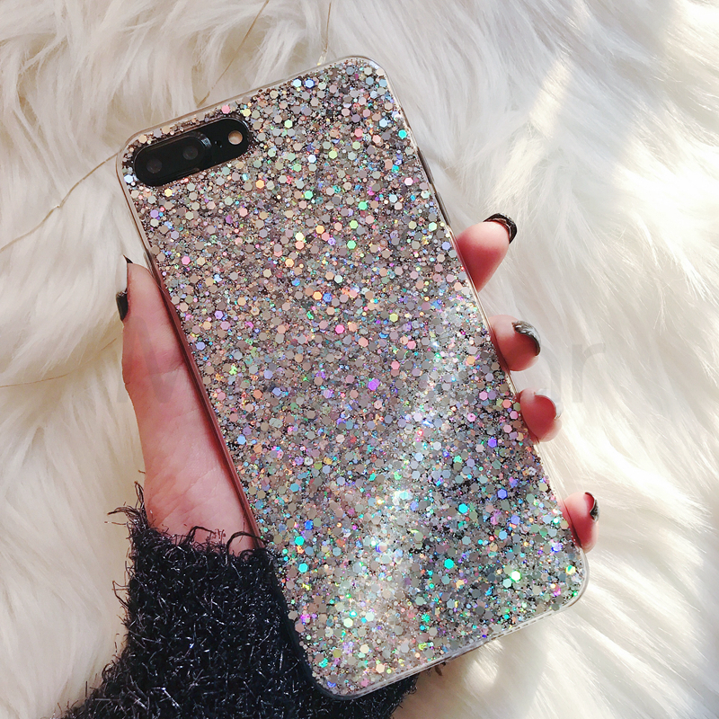 istylishmall- Bling Glitter Crystal Sequins Texture Soft Cover For iPhone X XR XS Max